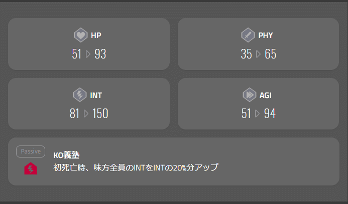 マイクリスキル「KO義塾」は死亡時に発動するINTデバフ
